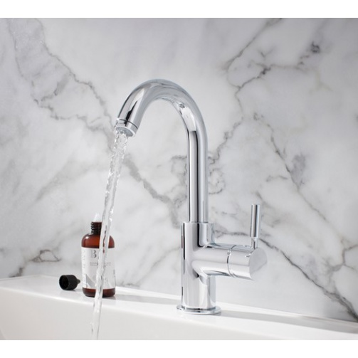 CROSSWATER DESIGN BASIN SIDE LEVER MONOBLOC WITH CLICK WASTE CHROME