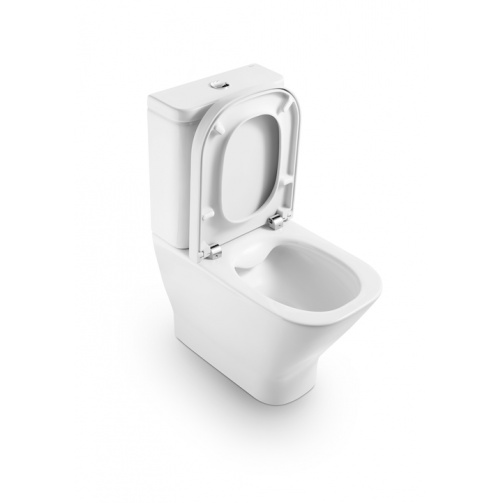 ROCA GAP RIMLESS CLOSE CLOUPLED TOILET WITH SOFT CLOSE SEAT CLOSED BACK