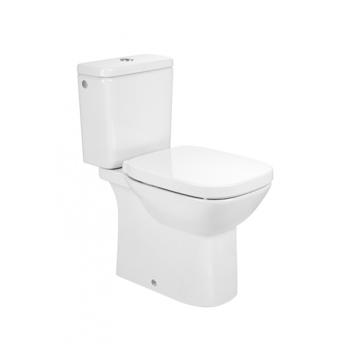 ROCA DEBBA SQUARE CLOSE COUPLED TOILET WITH SOFT CLOSE SEAT OPEN BACK