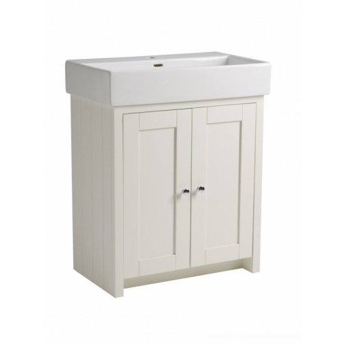 TAVISTOCK LANSDOWN 700MM FREESTANDING UNIT COMPLETE WITH CERAMIC BASIN ONE TAP HOLE LINEN WHITE
