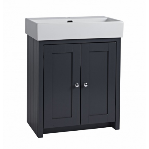 TAVISTOCK LANSDOWN 700MM FREESTANDING UNIT COMPLETE WITH CERAMIC BASIN ONE TAP HOLE MATT DARK GREY