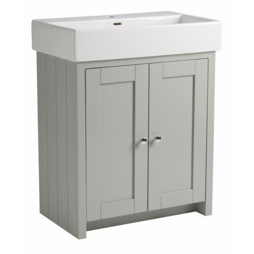 TAVISTOCK LANSDOWN 700MM FREESTANDING UNIT COMPLETE WITH CERAMIC BASIN ONE TAP HOLE PEBBLE GREY