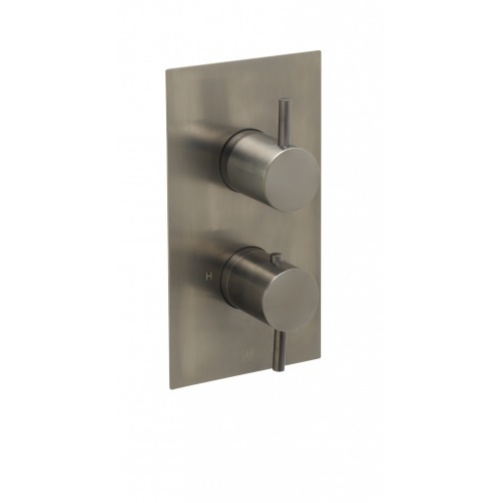 Just taps vos thermostatic concealed two outlet shower valve brushed black