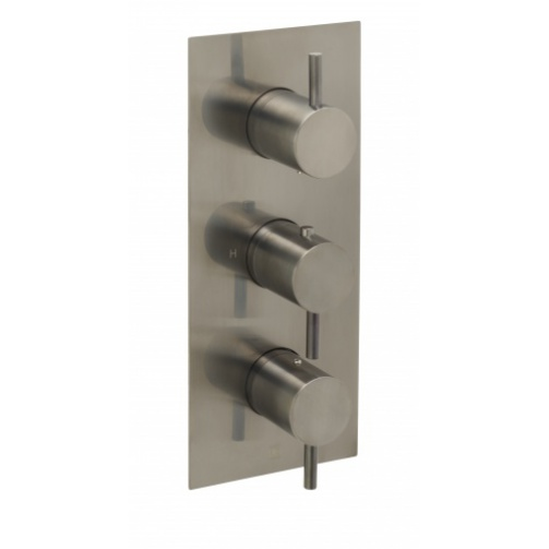 Just taps vos thermostatic concealed three outlet shower valve vertical brushed black