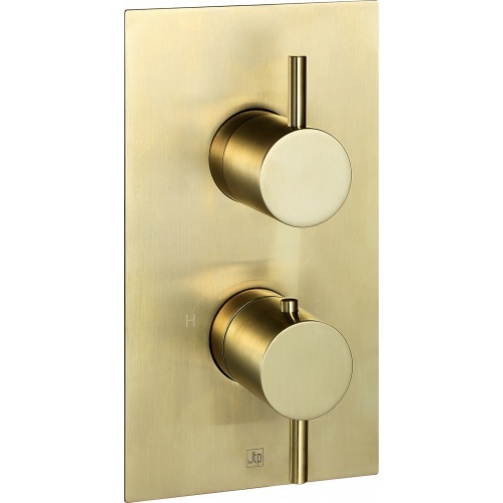 Just taps vos thermostatic concealed single outlet shower valve brushed brass
