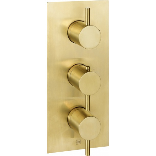 Just taps vos thermostaic concealed triple shower valve two outlet brushed brass
