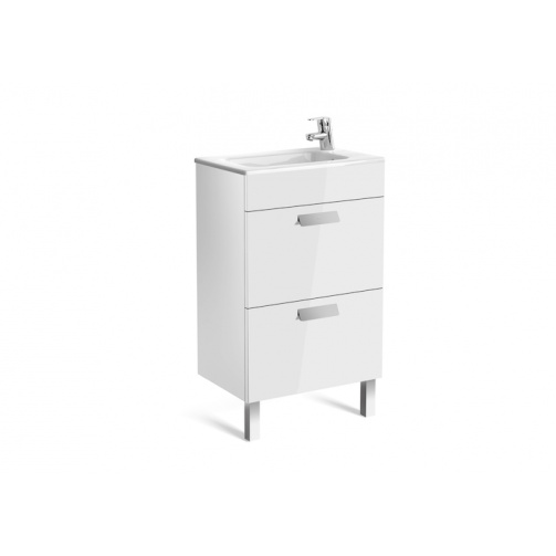 Roca debba compact 500mm two draw vanity unit 1tap hole