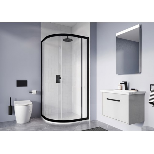 SIMPSON CLEAR 6 QUADRANT SINGLE DOOR MATT BLACK