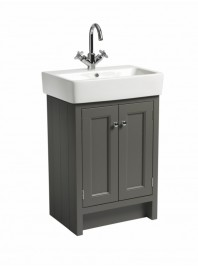 ROPER RHODES 575MM HAMPTON BASIN UNIT WITH CERAMIC BASIN PEWTER