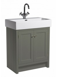 ROPER RHODES 700MM HAMPTON BASIN UNIT WITH CERAMIC BASIN ONE TAP HOLE PEWTER