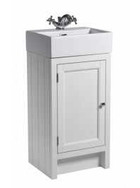 ROPER RHODES HAMPTON 400 CLOAKROOM BASIN UNIT COMPLETE WITH CERAMIC BASIN CHALK WHITE