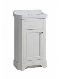 TAVISTOCK 500MM VITORIA CLOAKROOM UNIT WITH CERAMIC BASIN TWO TAP HOLE LINEN WHITE