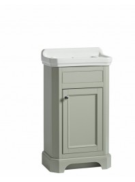 TAVISTOCK VITORIA 500MM CLOAKROOM UNIT COMPLETE WITH CERAMIC BASIN TWO TAP HOLE PEBBLE GREY