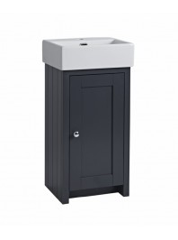 TAVISTOCK LANSDOWN CLOAKROOM UNIT COMPLETE WITH CERAMIC BASIN ONE TAP HOLE MATT DARK GEY