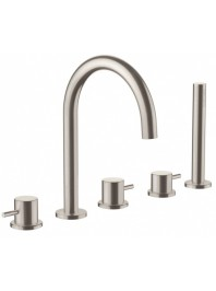Just taps five hole bath shower mixer with extractable hand shower stainless steel