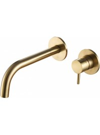 Just taps vos single lever wall mounted basin mixer brushed brass