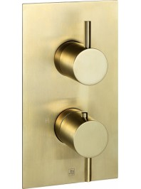 Just taps vos thermostatic concealed two outlet shower valve brushed brass