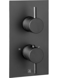 Just taps vos thermostatic two outlet concealed shower valve matt black