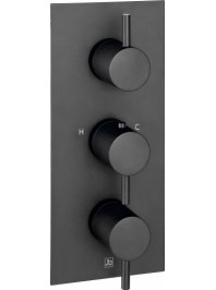 Just taps vos thermostatic concealed three outlet shower valve matt black